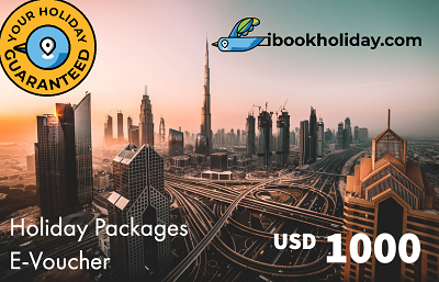 Holiday Packages E-Voucher From I Book Holiday, USD 1000