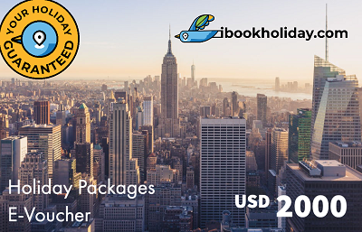 Holiday Packages E-Voucher From I Book Holiday, USD 2000